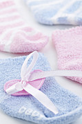 Shower Photo Prints - Baby socks  Print by Elena Elisseeva