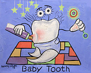 Cubism Mixed Media Posters - Baby Tooth Poster by Anthony Falbo