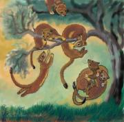 Animal Games Prints - Baby Weasels Playing in Sagebrush Print by Dawn Senior-Trask