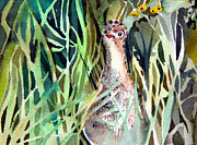 Mindy Newman Drawings - Baby Wild Turkey by Mindy Newman