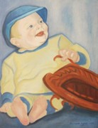 Suzanne Molleur Posters - Baby with Baseball Glove Poster by Suzanne  Marie Leclair