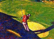 Arizona Golf Course Paintings - Babyboomer Golfing by Ion vincent DAnu