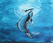 Humpback Whale Painting Framed Prints - Babys First Breath Framed Print by Althea Dianne Nutt
