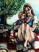 Togetherness Painting Prints - Babys First Picnic Print by Shana Rowe