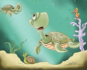 Sea Life Digital Art Posters - Babys Morning Swim Poster by Hank Nunes