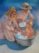 Nostalgic Paintings - Babys Summer Bath by Sue Halstenberg