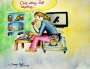 Telephone Drawings - Babysitting by Tanmay Singh