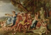 Historic Statue Painting Framed Prints - Bacchanal before a Herm Framed Print by Nicolas Poussin
