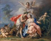 Tiger Painting Posters - Bacchus and Ariadne Poster by Jacopo Amigoni