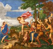 Pre-restoration Painting Framed Prints - Bacchus and Ariadne Framed Print by Titian