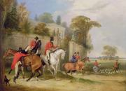 Hunting Prints - Bachelors Hall - The Meet Print by Francis Calcraft Turner