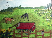 Horses Tapestries - Textiles - Back 40 by Charlene White