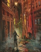 City At Night Paintings - Back Alley Justice by Tom Shropshire