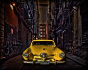 Vintage Auto Digital Art Posters - Back Alley Taxi Cab Poster by Chris Lord