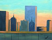 Skyscrapers. Painting Posters - Back Bay Sunset Poster by Laurie Breton