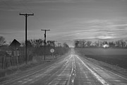 Country Roads Photos - Back Country Road Sunrise BW by James Bo Insogna