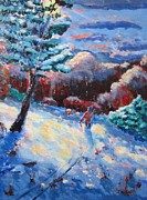 Cross-country Skiing Paintings - Back Country Trek by Don Hutchison