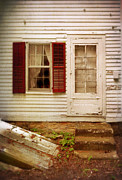 Entrance Door Framed Prints - Back Door of Old Farmhouse Framed Print by Jill Battaglia