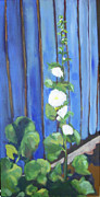 Holly Hocks Paintings - Back Fence by Debbie Phillips Conejo