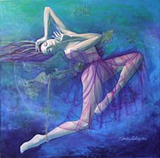 Purple Paintings - Back in time by Dorina  Costras