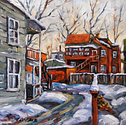 Canadian Artist Painter Painting Originals - Back Lanes 02 Montreal by Prankearts by Richard T Pranke
