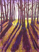 Rural Landscapes Pastels Prints - Back Lit Field Print by Wynn Creasy