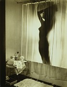 Wynn Posters - Back-lit Silhouette Of Nude Woman Poster by Everett