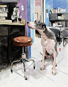 Great Dane Prints - Back Office Print by Debra Jones