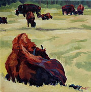 Bison Prints - Back Print by Patricia A Griffin