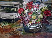 Silver Leaf Paintings - Back porch garden by Mary Sonya Conti
