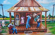 Back Porch Paintings - Back Porch Jamming by Arthur Covington