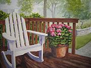 Porch Painting Originals - Back Porch by Shirley Braithwaite Hunt