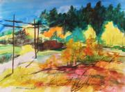 Watercolors Drawings - Back Road by John  Williams