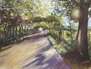 Fences Drawings Prints - Back Road to Home Print by Mary Jo Jung