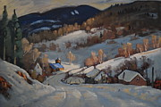Lit Painting Originals - Back Road Vermont by Len Stomski