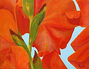 Gladiola Paintings - Back Side of Glad by Virginia Keith