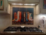 Tiles Ceramics Metal Prints - Back Splash Metal Print by Frances Marino