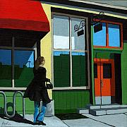Red Buildings Posters - Back Street Grill - urban art Poster by Linda Apple