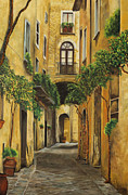 Street Art Paintings - Back Street in Italy by Charlotte Blanchard