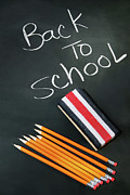 Chalkboard Metal Prints - Back to school acessories Metal Print by Sandra Cunningham