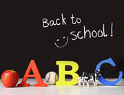 Chalkboard Framed Prints - Back to school concept with abc letters Framed Print by Sandra Cunningham