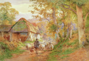 Farm Paintings - Back to the Fold by Charles James Adams