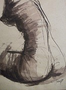 Sepia Ink Drawings - Back Torso - Sketch of a Female Nude by Carmen Tyrrell