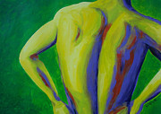 Nude Man Painting Prints - Back Up Man Print by Randall Weidner