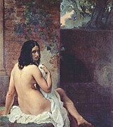 Hayez Paintings - Back View of a Bather by Pg Reproductions
