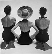 1950s Fashion Prints - Back View Of Fashion Models In Swim Print by Everett