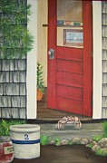 Crocks Prints - Backdoor Visitors Three  Print by Lin Ruch
