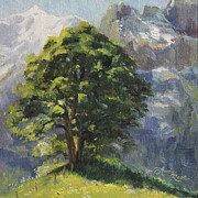 Switzerland Painting Originals - Backdrop of Grandeur Plein Air Study by Anna Bain