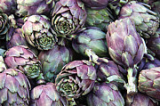 Round Prints - Background of artichokes Print by Jane Rix
