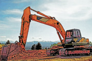 Construction Zone Prints - Backhoe 2 Print by Steve Ohlsen